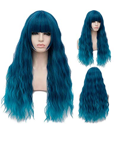TopWigy Blue Cosplay Wig Long Fluffy Curly Wavy Teal Costume Wigs for Women Girl Synthetic Anime Wigs (Blue 28