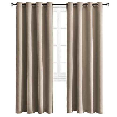 (WONTEX Blackout Curtains for Bedroom - Room Darkening Thermal Insulated Curtain with Grommet Top - 52 x 95 inch, Taupe, 2 Panels)
