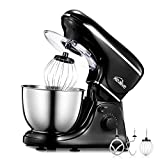 Stand Mixer Kealive 5-Quart Kitchen Mixer 8 Speed 700 Watt Dough Mixer with Stainless Steel Bowl, Dough Hooks, Whisk, Beater, Pouring Shield, Dough Mixer, Black