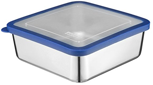MIRA Stainless Steel Lunch Box Food Storage Container | BPA Free, Eco-Friendly, Reusable Sandwich Box & Snack Container | For Kids & Adults | 6 x 6 in | Transparent Lid by MIRA Brands