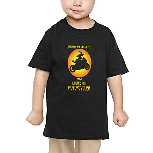 FACYXSHION Halloween Witch with Sport Motorcycle Kids T-Shirt Short Sleeve -