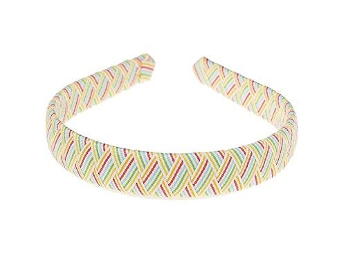 Woven Grosgrain Ribbon Headband (Rainbow Stripe Print)