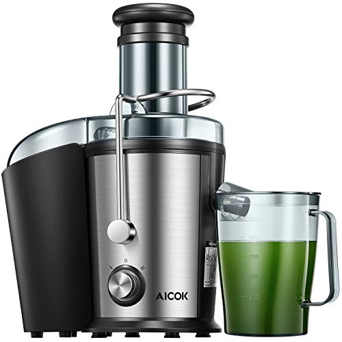 Juicer Machine, Aicok Juice Extractor, 800W Centrifugal Juicer with 3 inch Wide Mouth, Dual Speed Stainless Steel Juicer with Anti-drip Mouth, Non-slip feet, BPA Free