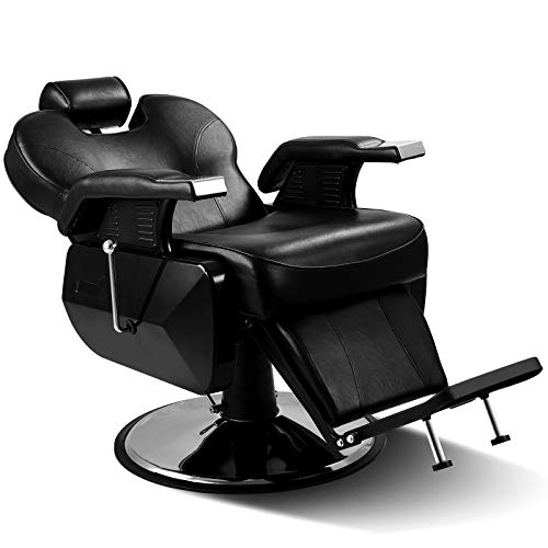Black All Purpose Hydraulic Recline Barber Chair with Free Twist Hair Brush Sponge Salon Beauty StylingChair for Beauty Shop