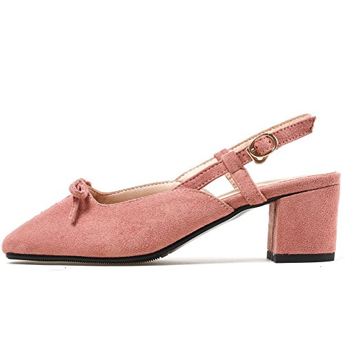Heel Low Cut Shoes Bows Toe Block with Slingback Toe Square Women's Pumps Pink Elegant KingRover Closed 8H7wqXBxn0