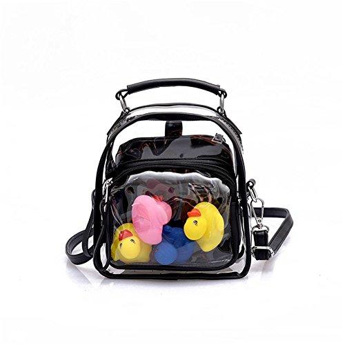 Angda Girl's PVC+PU Clear Backpack Mini Cross Body Bag Candy Color Swimming Beach (Black)