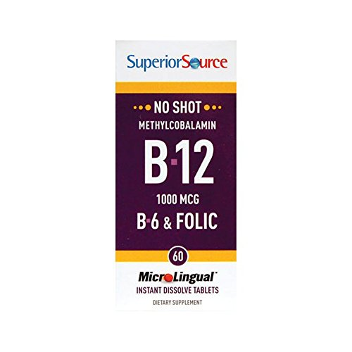 (Superior Source No Shot Vitamin B12 Methylcobalamin 1000 mcg Sublingual - B6 - Folic Acid - Instant Dissolve Tablets - Methyl B12 Supplement 60 Count)