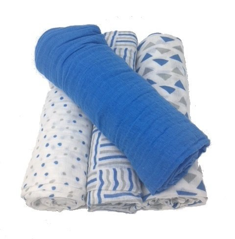 Aden by aden + anais Swaddle Baby Blankets, 4 Pack, Six Uses in One, 100% Cotton Muslin