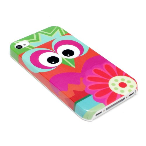 deinPhone Apple iPhone 4 4S HARDCASE Hülle Case Crazy Eule Blume