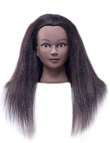 Cosmetology Mannequin Head with 100% Real Hair and Adjustable Stand 20-22