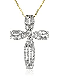 18K Gold Sterling Silver Diamond Cross Pendant Necklace (1/2 cttw), 18""