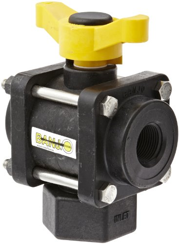 Banjo V075BL Polypropylene Bottom Load Ball Valve, Three Piece, Three Way, Full Port, 3/4