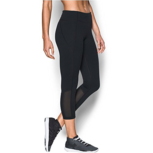 Under Armour Women's Mirror Color Block Crop, Black/Silver, Medium
