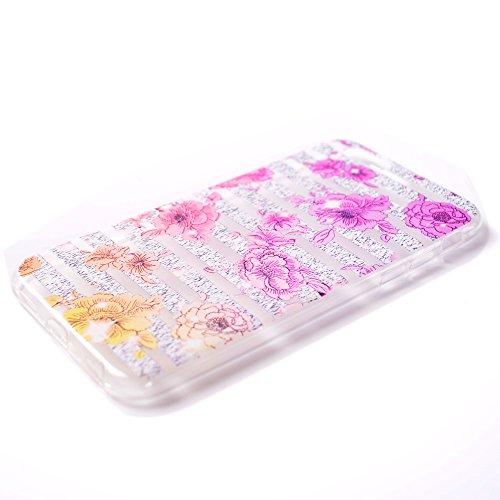 iPhone 5 5S SE Coque , Leiai Mode Couleur Fleur Ultra-mince Transparent Clear Silicone Doux TPU Housse Gel Etui Case Cover pour Apple iPhone 5 5S SE