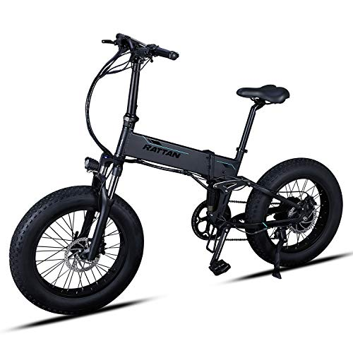 Rattan IPAS Ebike Electric Mountain Bikes Rattan Fat Bear Full Suspension Fat Tire Snow Tyre 48V 500W Motor 8 Speed 11.6 Ah Lithium Battery Foldable Electric Bike Adults Assisted EBike Plus (Black)