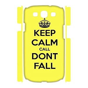 3D Samsung Galaxy S3 Cases Keep Calm Dont Fall for Women Protective, Case for Samsung Galaxy S3 Mini I8200 for Women Protective [White]