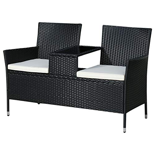 (Outsunny 2 Seat Rattan Wicker Chair Bench with Tea Table Padded Seat- Black)