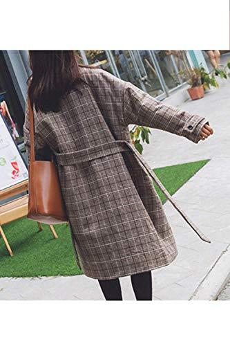 femmes laine Zhrui cn taille XLL avec d'hiver UK décontractés d'hiver ceinture Vêtements de café Café Midi carreaux couleur L pour en à 7pa8Y