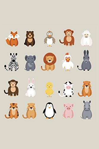 Cute Animal Set Lion Tiger Monkey Collection Nursery Kids Room Drawing Poster 12x18 inch