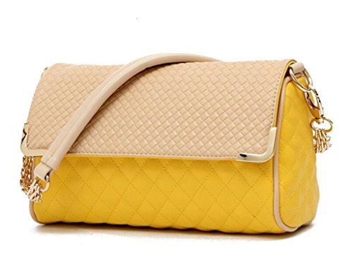Women body Purse Satchel Cross Cute Yellow Plaid amp;Girls for PU Premium Shoulder Diamond Bagtopia Small Handbag Leather Bag 8v4Ovqw