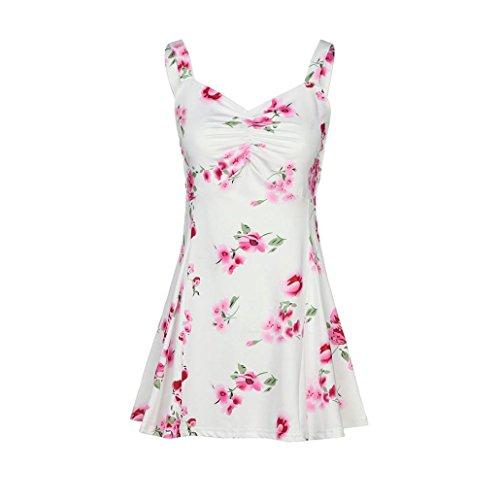 Nevera Clearance Women Summer Sleeveless Floral Sling T-Shirt Vest Ladies Casual Blouse Tank Tops (M, White) (Kohls Blouses For Women)