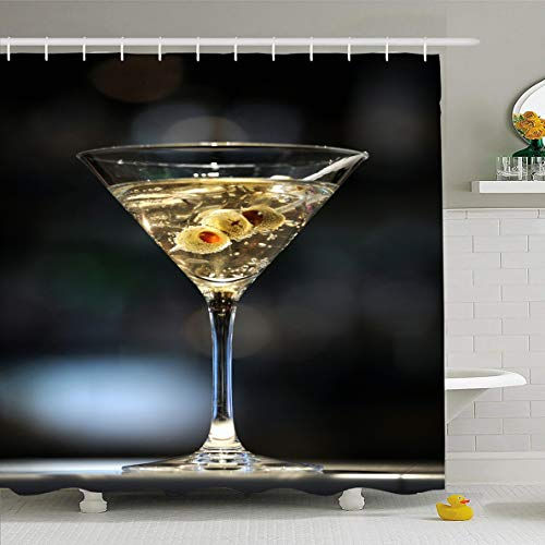 Ahawoso Shower Curtain 72x72 Inches Cocktail Vodka Martini On Bar Three Olives Food Drink Shaken Alcohol Alcoholic Bond Design Waterproof Polyester Fabric Bathroom Curtains Set with Hooks
