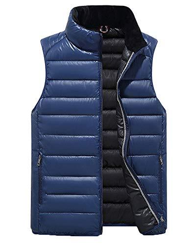 Mens Dark Gilet Jacket Sleeveless Cardigan Blue Down Top Bodywarmer Liangzhu Quilted Coat Gilets Vest Thicken Zipper Casual Padded dA1Uqd