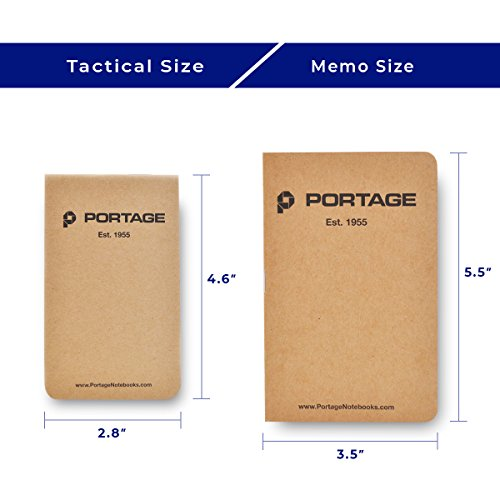 Portage Field Notebook Tactical Sized Pocket Notepad - Top Bound Notebook with Lined Paper Lies Flat in Pocket - 2.8 x 4.6 inches - 64 Pages (6 Pack)