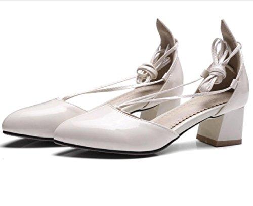 YCMDM tacchi alti delle donne i nuovi pattini di cuoio del brevetto calza i grandi sandali di formato , beige , 36