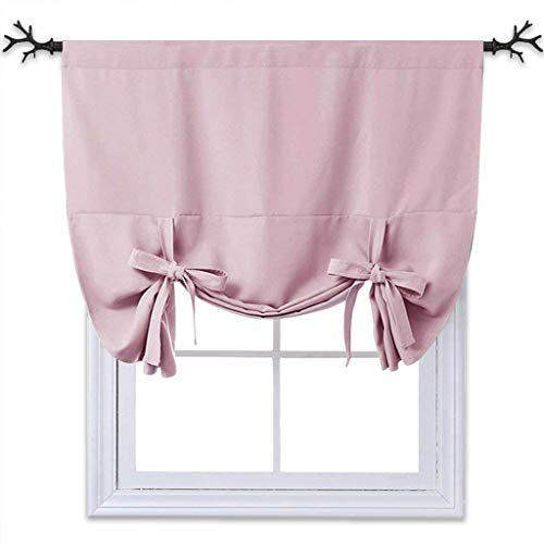 NICETOWN Thermal Insulated Blackout Curtain - Tie Up Shade for Baby's Window (Lavender/Baby Pink, Rod Pocket Panel, 46