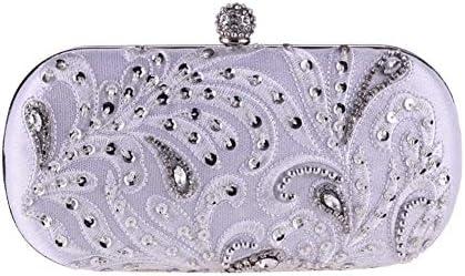 XLY La Moda bordó el Embrague Moldeado, Bolso de Noche Artesanal de Las Mujeres Diamante-incrustada,Silver