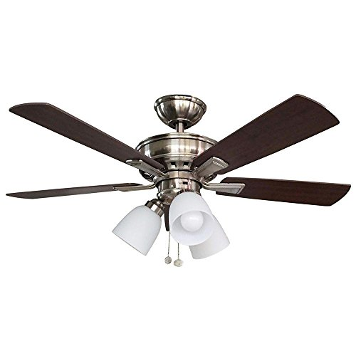 Hampton Bay Nickel Ceiling Fan - Hampton Bay 68144 44 in. LED Indoor Brushed Nickel Ceiling Fan