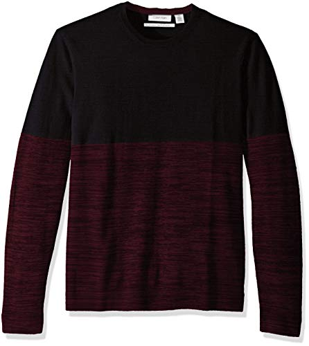 Calvin Klein Men's Merino Sweater Crew Neck, Combo Black, ()