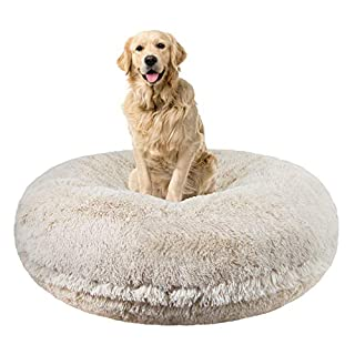 Bessie and Barnie Signature Blondie Luxury Shag Extra Plush Faux Fur Bagel Pet / Dog Bed (Multiple Sizes), XL - 50""