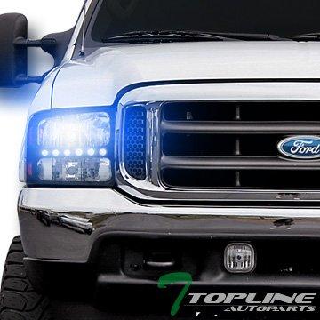 Topline Autopart 10000K Hid Bi-Xenon Black Led Head Lights Signal Lamps Am (1 Piece Euro Headlights)