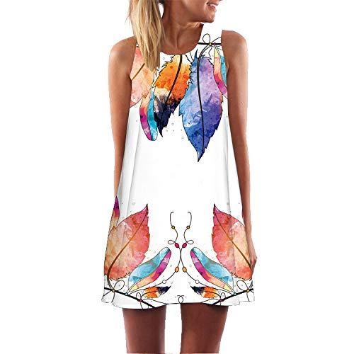 Women Summer Vintage Dress Sleeveless 3D Flavor Vintage Beachwear Sundress Print Bohe Tank Short Mini Dress Size S-2XL (XL=US:10-12, White-ⅱ)