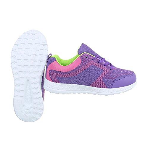 Zapatos para mujer Zapatillas Plano Zapatillas altas Ital-Design Morado EL20009