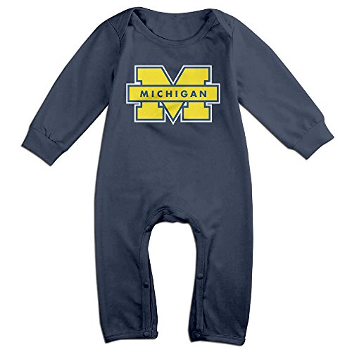 PCY Newborn Babys Boy's & Girl's Michigan Wolverines Logo Long Sleeve Baby Climbing Clothes For 6-24 Months Navy Size 6 (Dead Baseball Player Costume)