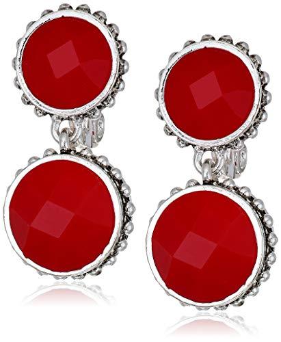Napier Women's Silver Red Ez Comfort Clip Circle Double Drop Earrings