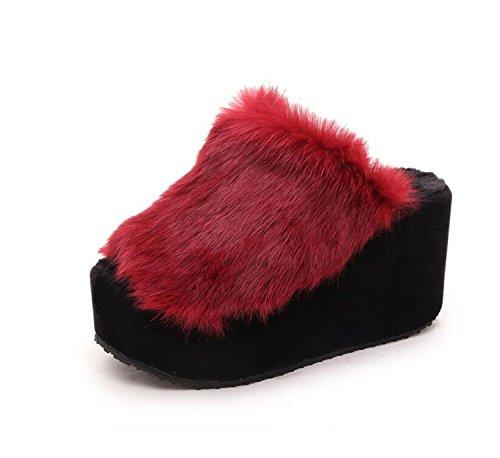 Chanclas DANDANJIE Abierto Rojo Zapatillas Gris Dedo caseros Zapatos cuña Aire de Libre de Zapato Otoño y Mujer Zapatillas Invierno Gris de Negro al qPxwrqznH