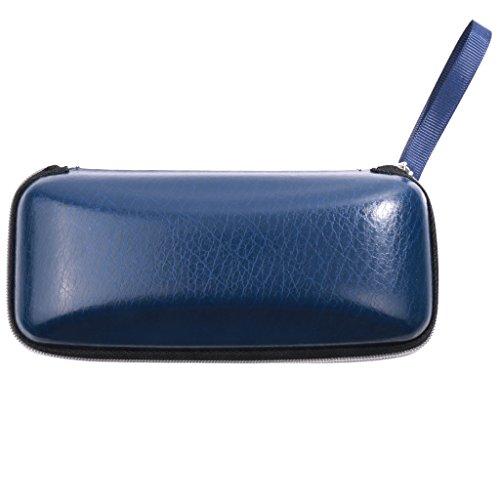 Boîte de Protection de Lunettes de Soleil en Cuir PU Dur Clam Shell Box Case Coffee Bleu