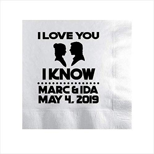 Star wars wedding napkins, personalized wedding napkins, star wars wedding -