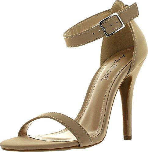 Anne Michelle Womens Enzo-01N Ankle Strap Open Toe Stiletto High Heel Dress SandalNude Nubuck-016.5