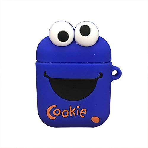 Lovely Cartoon Silicone Case Shockproof Cover Portable Protective Skin Compatible with AirPods 1 & 2 (Front LED Not Visible for Wireless Version), Cookie Monster