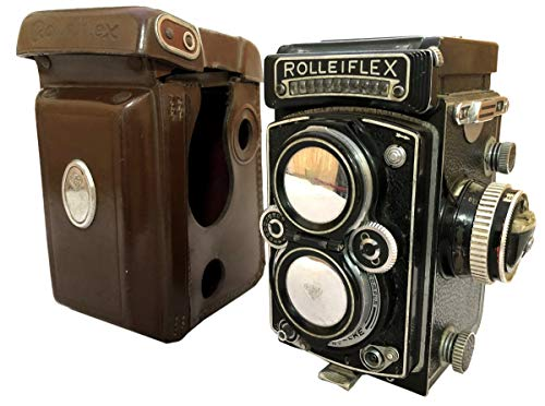 Antiques World Vintage ROLLEIFLEX 3.5 CZEISS PLANAR 1:3.5/75mm Lens TLR f=75mm Old Camera Meter Photo w CASE & Cap…