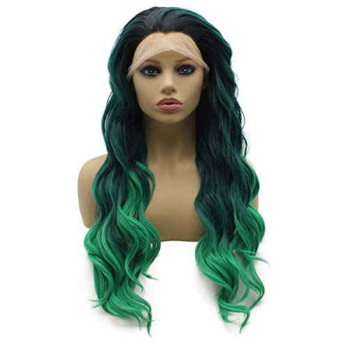 Asparagus Festival - iwonawig Long Wavy Ombre Green Synthetic Lace Front Wig Heat Friendly Fiber Hair
