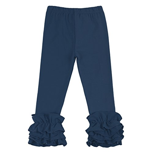 Little Big Girl Icing Ruffle Pants Boutique Ruffle Leggings Cotton Trousers Activewear Playwear Birthday Party Navy Blue 3-6 Months