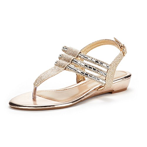 DREAM PAIRS Women's Estelle_W Gold Fashion Rhinestones Low Wedge Sandals Size 7.5 M US ()