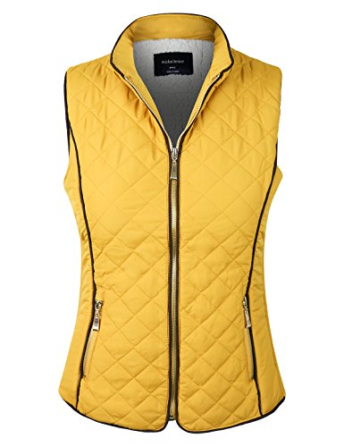 (makeitmint Women's Quilted Soft Shearling Lining Padding Pocket Vest [S-3XL] YJV0002-24MUSTARD-SML)