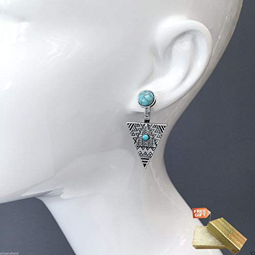 Antique Silver Aztec Design Triangle Drop Dangle Turquoise Stone Earrings For Women Set + Gold Cotton Filled Gift Box